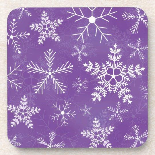 Purple and White Snowflake Pattern Coaster