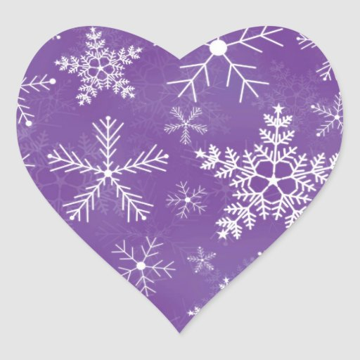 Purple and White Snowflake Pattern Heart Sticker