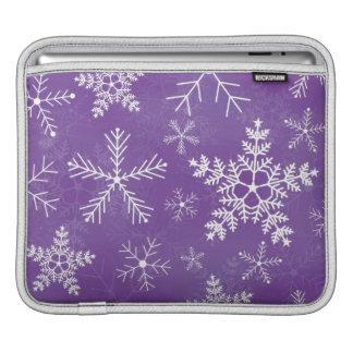 Purple and White Snowflake Pattern iPad Sleeve