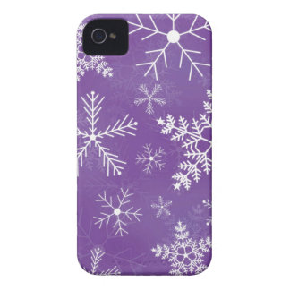 Purple and White Snowflake Pattern iPhone 4 Covers