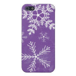 Purple and White Snowflake Pattern Cases For iPhone 5
