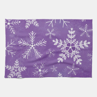Purple and White Snowflake Pattern Kitchen Towel