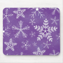 Purple and White Snowflake Pattern Mouse Pad