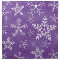 Purple and White Snowflake Pattern Napkins