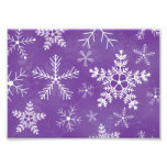Purple and White Snowflake Pattern Photo Print