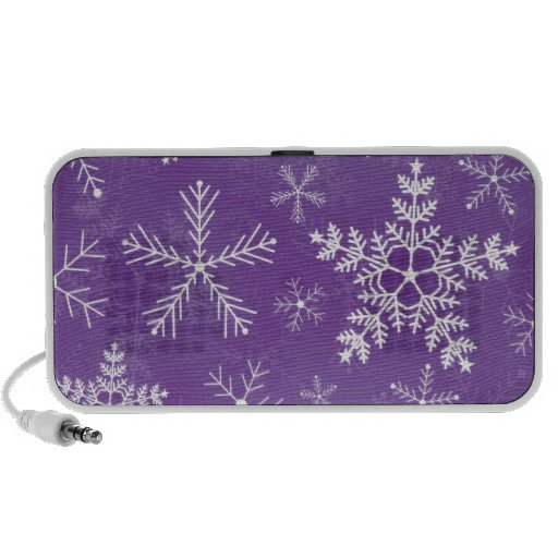 Purple and White Snowflake Pattern Portable Speakers