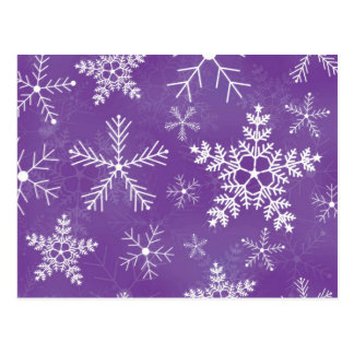 Purple and White Snowflake Pattern Post Card