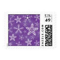 Purple and White Snowflake Pattern Postage