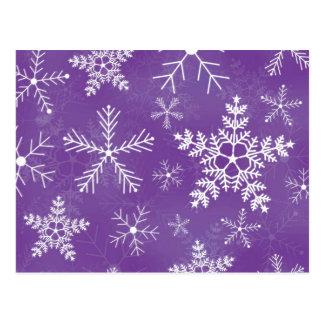 Purple and White Snowflake Pattern Postcard