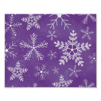 Purple and White Snowflake Pattern Poster
