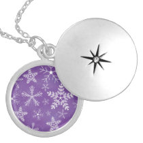 Purple and White Snowflake Pattern Round Locket Necklace
