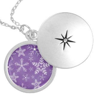 Purple and White Snowflake Pattern Round Locket Necklace