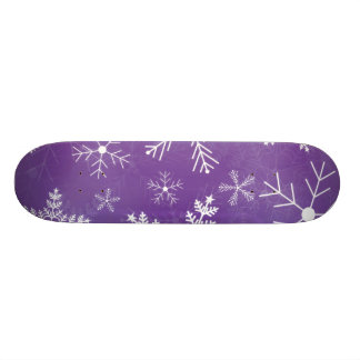 Purple and White Snowflake Pattern Skate Deck