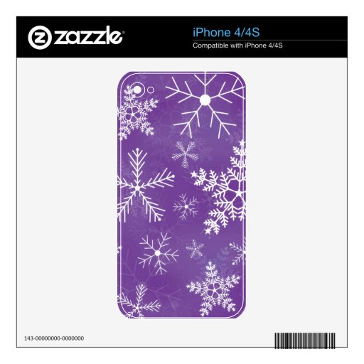 Purple and White Snowflake Pattern Skin For The iPhone 4