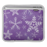 Purple and White Snowflake Pattern Sleeves For iPads
