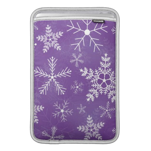 Purple and White Snowflake Pattern Sleeves For MacBook Air