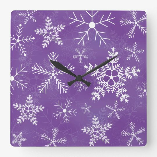 Purple and White Snowflake Pattern Square Wall Clock