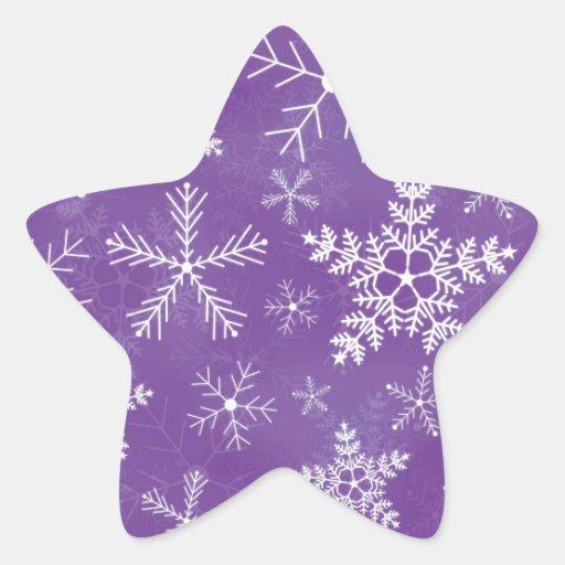 Purple and White Snowflake Pattern Star Sticker