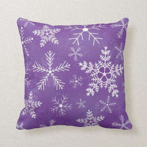 Purple and White Snowflake Pattern Throw Pillow