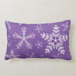 Purple and White Snowflake Pattern Throw Pillows