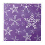 Purple and White Snowflake Pattern Tile