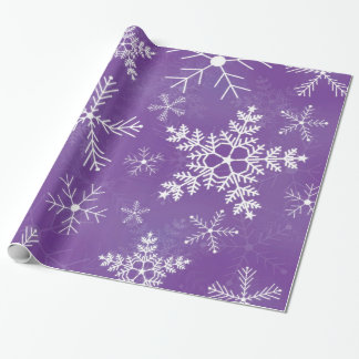 Purple and White Snowflake Pattern Wrapping Paper