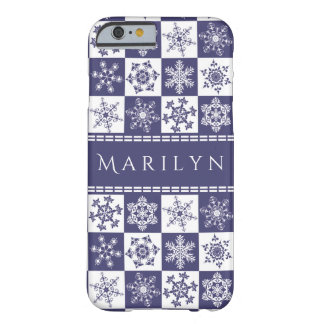 Purple and White Snowflakes Christmas Holiday Barely There iPhone 6 Case