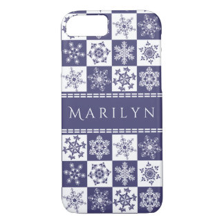 Purple and White Snowflakes Christmas Holiday iPhone 8/7 Case