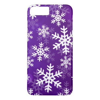Purple and White Snowflakes iPhone 7 Plus Case