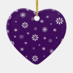 Purple and white snowflakes pattern christmas ornament