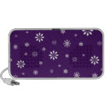 Purple and white snowflakes pattern iPhone speakers