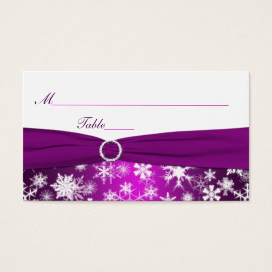 Purple and White Snowflakes Placecards Business Card