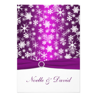 Purple and White Snowflakes Wedding Invitation