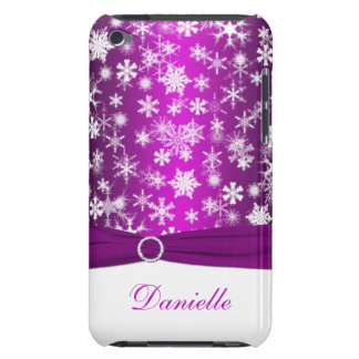 Purple and White Snowflakes with Faux Ribbon  iPod Case-Mate Case