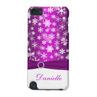 Purple and White Snowflakes with Faux Ribbon iPod iPod Touch 5G Case