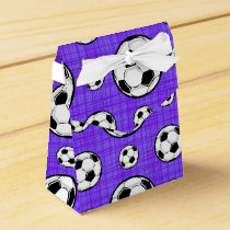 Purple and White Soccer Ball Pattern Favor Box