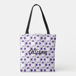 Purple and White Soccer Balls with Name Tote Bag