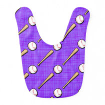 Purple and White Softball Pattern Bib