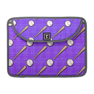 Purple and White Softball Pattern Sleeves For MacBook Pro