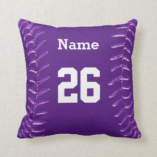 Purple and White Softball Pillow, NAME and NUMBER Throw Pillow
