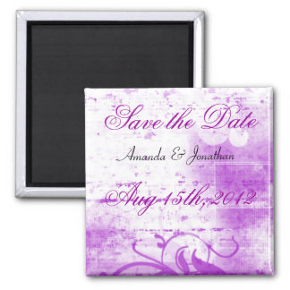 Purple and White Spraypaint Save The Date Magnet