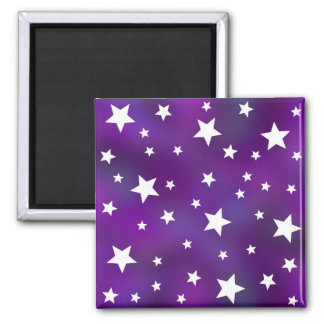 Purple and White Star Pattern 2 Inch Square Magnet