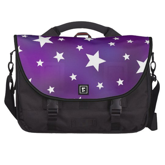 Purple and White Star Pattern Laptop Messenger Bag