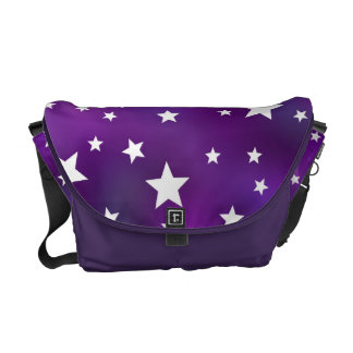 Purple and White Star Pattern Messenger Bags
