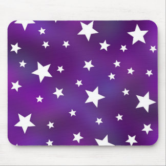Purple and White Star Pattern Mousepads