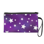 Purple and White Star Pattern Wristlet