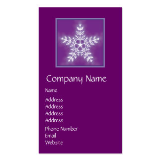 Purple and White Star Snowflake Double-Sided Standard Business Cards (Pack Of 100)