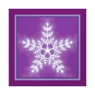 Purple and White Star Snowflake Stretched Canvas Print