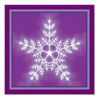 Purple and White Star Snowflake Photo Print
