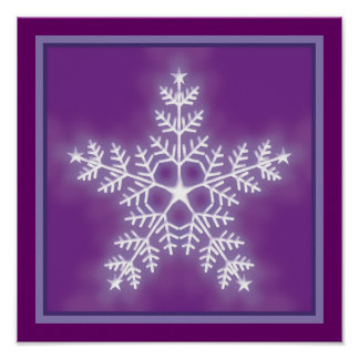 Purple and White Star Snowflake Poster